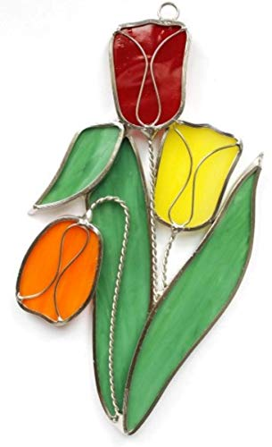 Stained Glass Tulips Suncatcher - Bold Colors