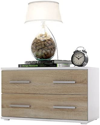 Vladon Bedroom Bedside Cabinet Kioto, Carcass in White matt/Front in Grey High Gloss