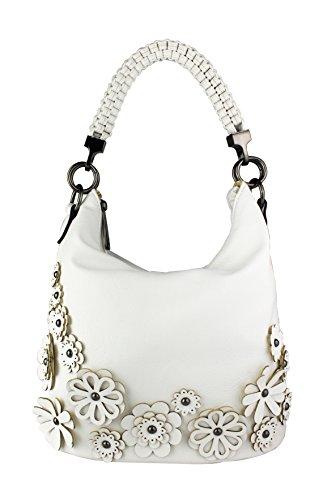 Redfox Womens Braided Handle Strap 3D Effect Floral Hobo Tote Bag/Shoulder Handbag
