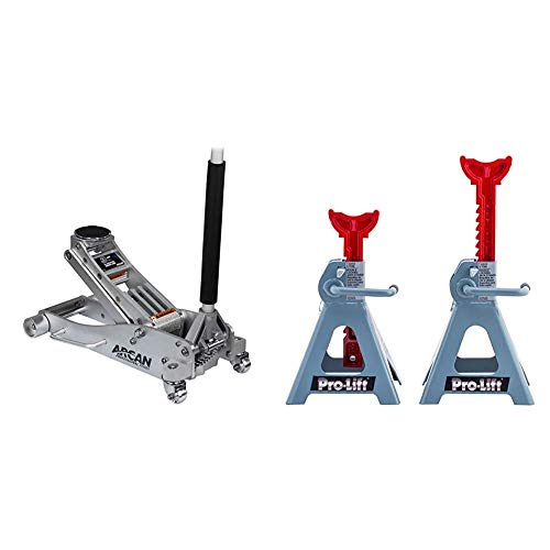 Arcan 3-Ton Quick Rise Aluminum Floor Jack with Dual Pump Pistons & Reinforced Lifting Arm (ALJ3T) & Pro-LifT T-6903D Double Pin Jack Stand - 3 Ton, 1 Pack