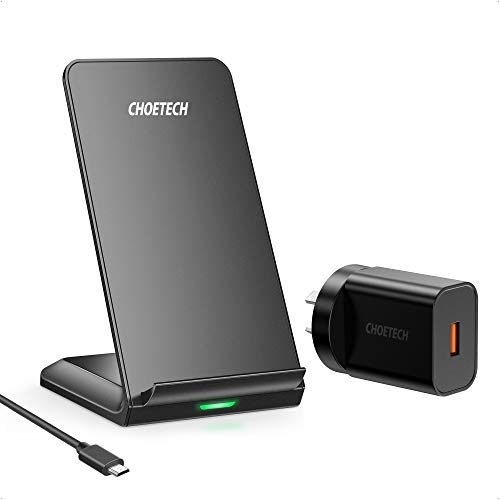 CHOETECH Wireless Charger, Qi-Certified 10W Max Fast Wireless Charging Stand (with AC Adapter) Compatible iPhone 11/11 Pro Max/XS Max/XR/XS/X/8/8 Plus, Galaxy Note 10/S20/S20+/S10/S10 Plus/S10E
