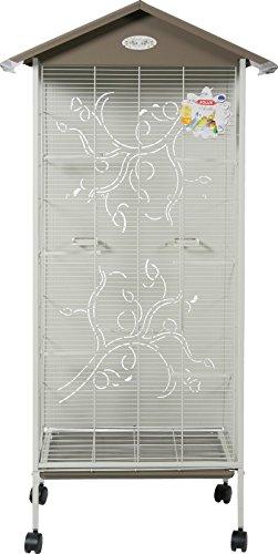 Zolux Axelle voliera Interna/Esterna per Uccello Esotico/beccucci crochus con Fondo Metallo Serigrafia Tortora 78x 48x 156cm