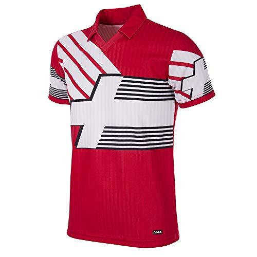 Copa Camiseta de fútbol Retro para Hombre Suiza 1990-92, Hombre, 228, Rojo, S