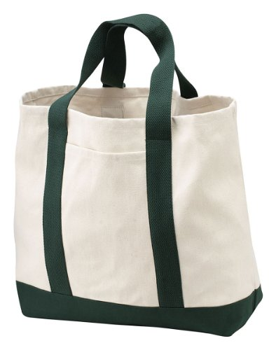Port & Company Canvas Bottom Shopping Tote_Natural/Spruce_One Size