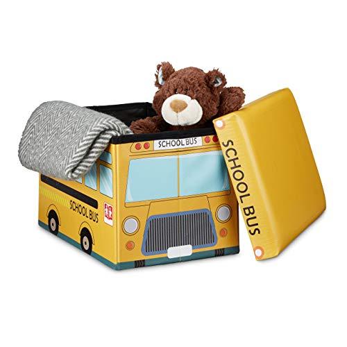 Relaxdays Coffre à jouets similicuir boîte à jouets couvercle tabouret pouf enfant pliable H x l x P: 32 x 48 x 32 cm capacité 37 L, bus école