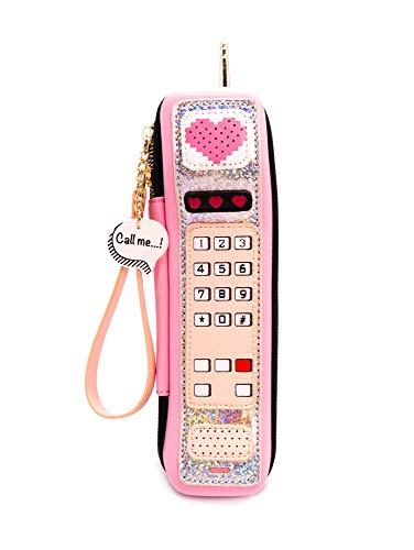 Fun Shape Purse Handbag, Tween Style, Pink Cellphone Wristlet Strap Call Me 90s