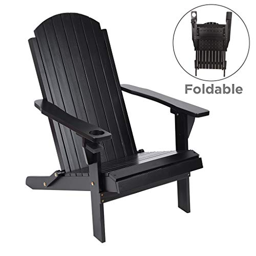 Classic Outdoor Adirondack Chair, Outdoor Folding Chair, Patio, Terrace, Garden and Natural Decoration-Black