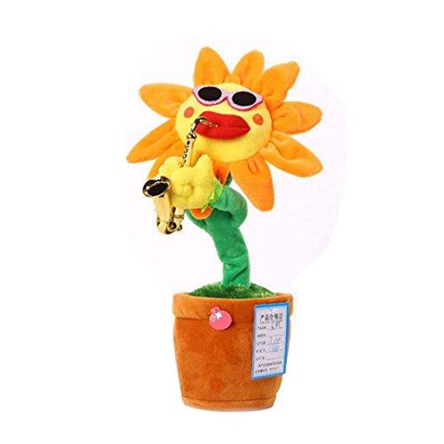 BZLine® Baby Songs singen und tanzen Blume mit Saxophon Plüsch lustige elektrische Spielzeug (Gelb)