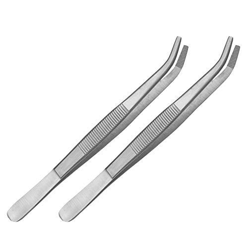 May - Set - 2 x Technische Pinzette gebogen - 14 cm - Modellbau Pinzette - Elektriker Pinzette - Industrie-Pinzette - Edelstahl