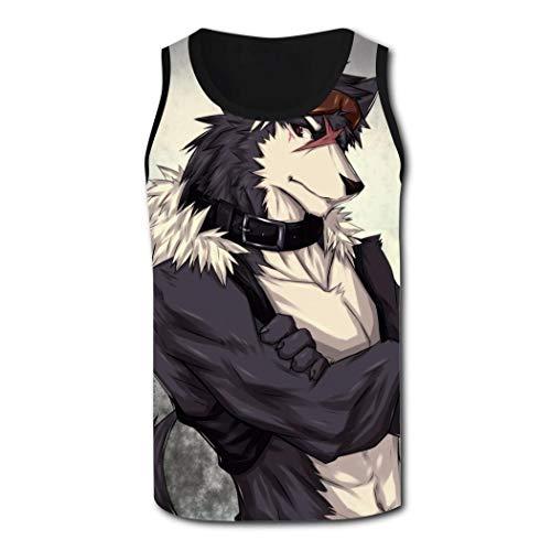 DTT&GTT Anime Wolf Mens Sleeveless Stretch Comfy Tank Top Sports Tank Top S Black