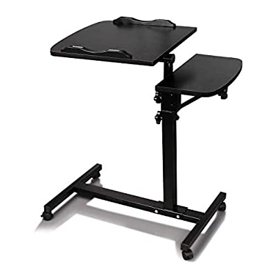 Callm Mobile Stand Up Desk, Laptop Desk with Adjustable Top and Casters Home Office Workstation, Notebook Tables Cart with Side Table (Black)