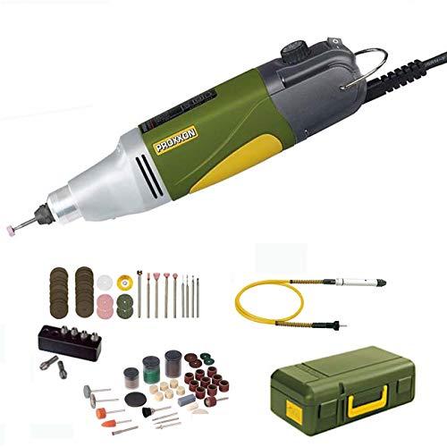 PROXXON MICROMOT Multitool / Industrie Bohrschleifer IBS/E Set mit elektronischer Drehzahlregelung und kugelgelagerter Spindel - inklusive 34 PROXXON Einsatzwerkzeuge, 6-tlg. PROXXON Spannzangensatz, Koffer, PROXXON Biegewelle 110/BF mit Bohrfutter und 105-tlg. SILVERLINE Zubehörset