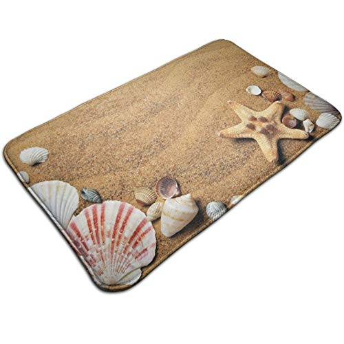 LINJIN Beach Starfish Scallop Memory Foam Bath Rugs and Doormats Non Slip Absorbent Super Cozy Flannel Bathroom Rug Carpet,31.5''X19.5''