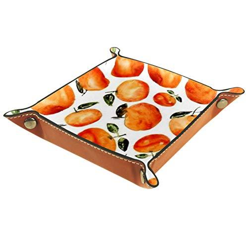 Organizador de almacenamiento de escritorio – Bandeja multiusos de piel sintética para mesita de noche, soporte de dados para llaves, teléfono, cartera, monedas, joyas, frutas naranjas