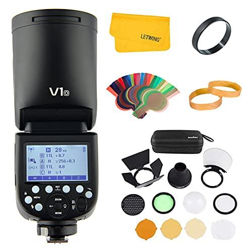 Godox V1O - Cámara de flash TTL de cabeza redonda Speedlite, 1/8000 HSS 2.4G sistema X inalámbrico con batería de iones de litio de alto rendimiento para Olympus/Panasonic, apto para estudio/retrato/fotografía de boda