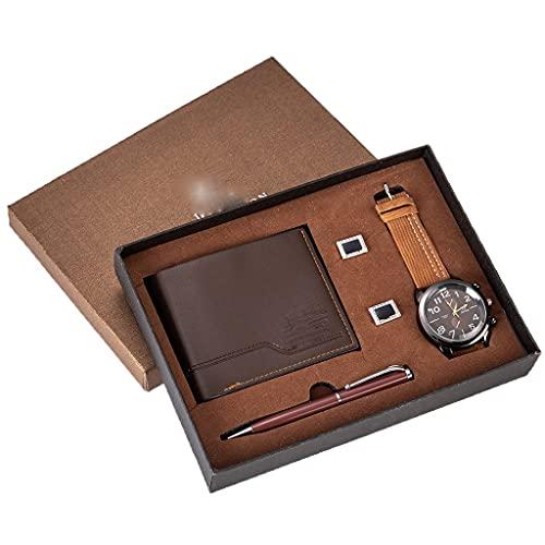 SSMDYLYM Juego de Regalo para Hombres Reloj bellamente empaquetado + Monedero Gemelos Juego de bolígrafos Venta de combinación Creativa Reloj Mujeres Pareja