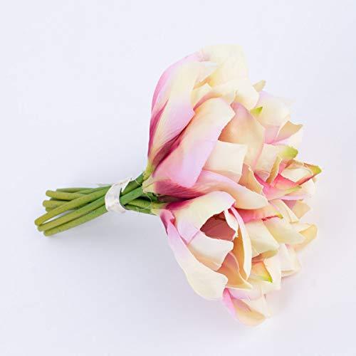 Mooi leven. Kunstbloem amaryllis boeket 9 bloemen wit roze 23 cm