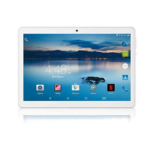 Manjee 10 inch Android Tablet with SIM Card Slot Unlocked Octa Core 4GB RAM 64GB ROM 3G GSM Phone Phablet with WiFi GPS Cameras Tablets - Silver