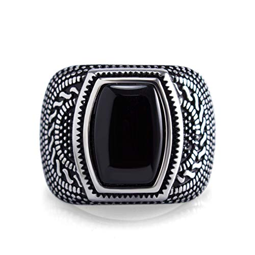 555Jewelry Classic Stainless Steel Rings for Men, Retro Vintage Celtic Seal Rectangle Black Onyx Ring for Men, Signet Ring for Men, Mens Stone Ring Band, Silver, Size 10