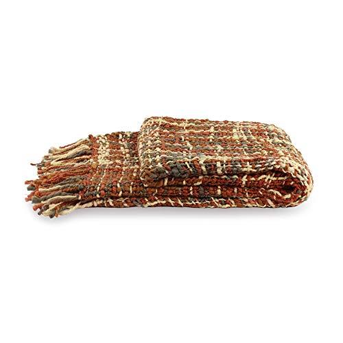 NOVICA Earth Tone Woven Throw Blanket 'Joyous Earth'
