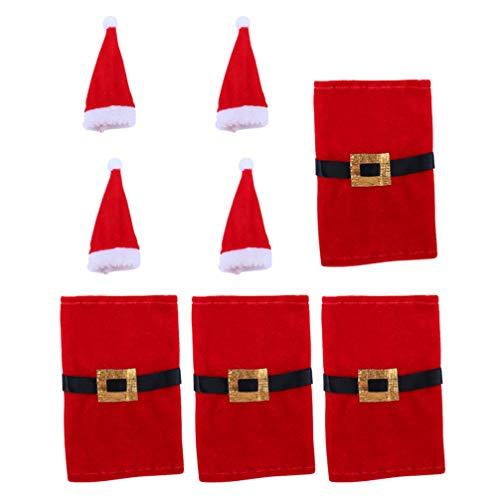 ABOOFAN - 4 fundas para botellas de vino con 4 botellas de vino de Papá Noel bolsas de botella de vino de Navidad, botella de vino, ropa de Navidad, decoración de mesa