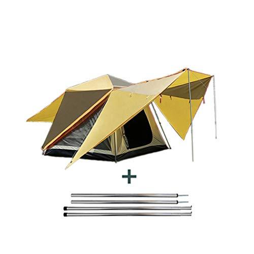 LMJ Tienda automática Pop Up Camping 4 Persona con Protector Solar Recubrimiento Tienda inmediata a Prueba de Agua for la Familia Senderismo (Color : Yellow)