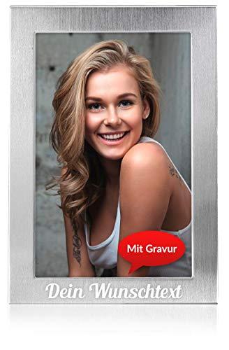 Geschenkfreude personalisierter Bilderrahmen mit Namen - Hochzeitsbilderrahmen - persönliches Geschenk mit Gravur - Fotorahmen Metall - 13x18cm