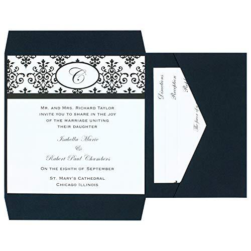 Simplicity Einzel Bordüre Invite WHT 100 CT 25ct Black & White Scroll