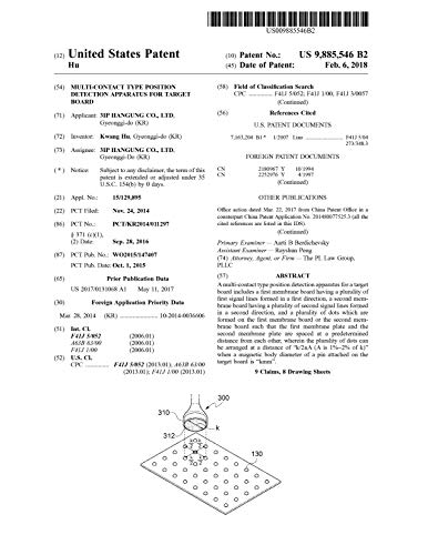 Multi-contact type position detection apparatus for target board: United States Patent 9885546 (English Edition)