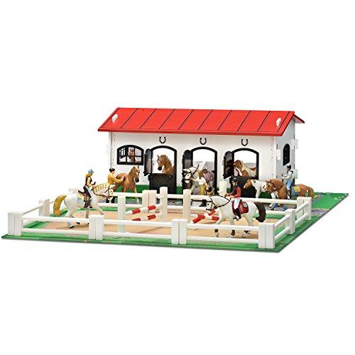 Micki 10.2152 - Stall aus Holz mit Spielmatte und Koppel