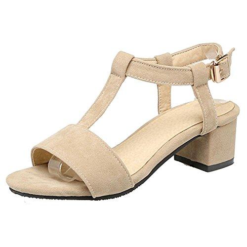 BeiaMina Mujer Moda Tacón Medio Sandalias Peep Toe