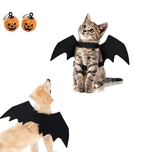 Nollary Halloween Disfraces Pet Bat Wings con 2pcs Calabaza campanas Halloween Disfraz de Halloween para perros pequeños cachorros, gatos gatitos