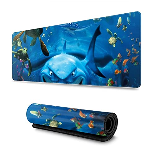 Ocean Theme Shark Extended Gaming Mouse Pad with Stitched Edges, Non-Slip Rubber Base Mousepad Keyboard Pad Desk Mouse Mat,11.8x31.5 in