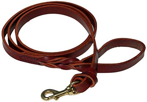 Signature K9 Knot Braided Heavy Leather Leash, 6-Feet by 7/8-Inch, Burgundy