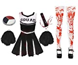 I LOVE FANCY DRESS LTD Disfraz DE Cheerleader O Animadora Muerta Zombi con Medias SANGRIENTAS Y PONPONS Negros para Adultos Conjunto Halloween (XS)