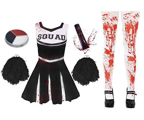 I LOVE FANCY DRESS LTD Disfraz DE Cheerleader O Animadora Muerta Zombi con Medias SANGRIENTAS Y PONPONS Negros para Adultos Conjunto Halloween (XS)
