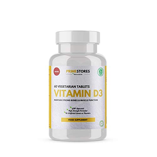 Vitamin D3 Bone Conditioning Pills 3000iu - 60 Vegetarian Tablets - High Strength Halal Joint and Teeth Strengthing Supplements by Primestores