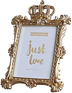 Indie shop Gold Color Luxury Style Crown Shape Resin Picture Frame 4x6 Inch Rectangle Bachelor Style Wall Hanging/Desktop Photo Frame … (7 Inch Rectangle)