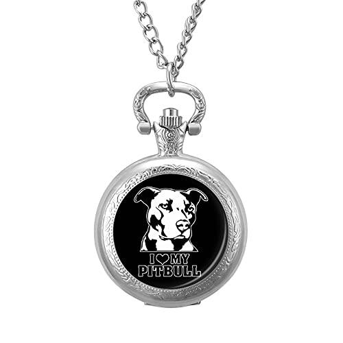 I Love Me Pitbull - Reloj de bolsillo de cuarzo con cadena y números arábigos