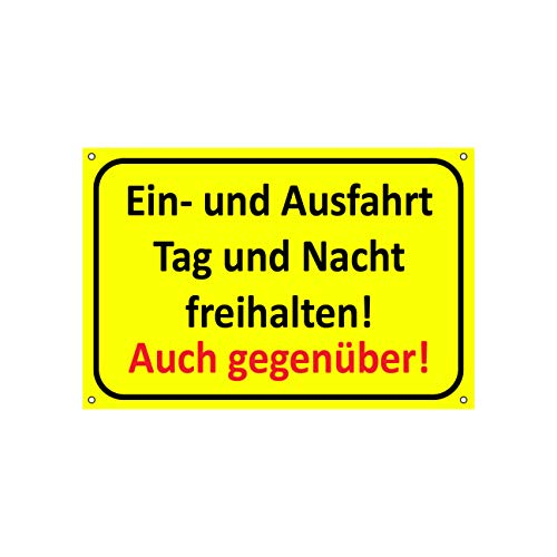 Einfahrt freihalten Schilder| Ausfahrt freihalten Schild - auch gegenüber | Parken verboten | Garage Tag und Nacht freihalten (30x20 cm) (1 Stk. Einfahrt freihalten Tag und Nacht)