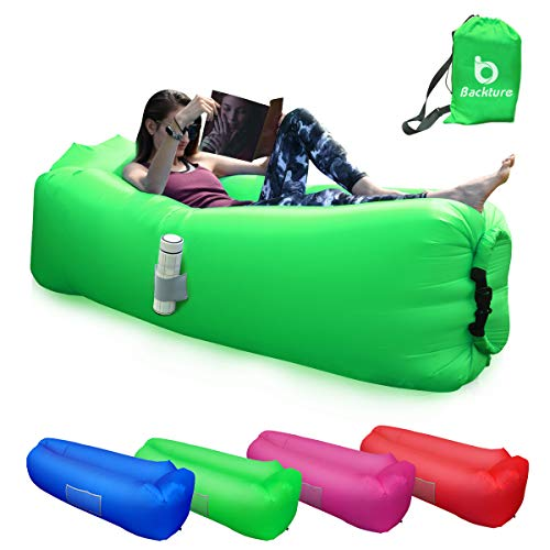 BACKTURE Sofa Hinchable, Tumbona Inflable Cama con Almohada integrada,