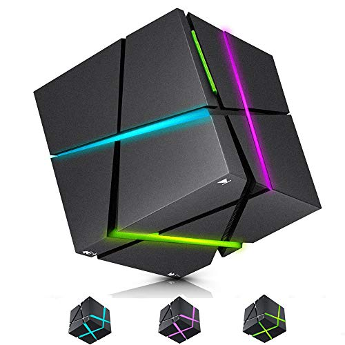 EtoBesy Bluetooth Speakers with Colorful LED Light, Mini Portable Wireless Cube Stereo Speaker Magic Music Player Hand Free Outdoor for iPhone Samsung MP3 MP4 Player Tablet Laptop Computer (Black)