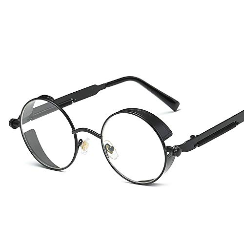 aoory Gafas de sol redondas estilo punk, marco de metal, polarizadas, retro, para jóvenes, color negro y blanco