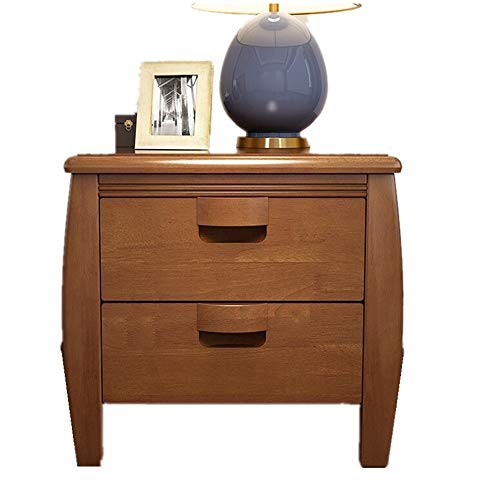 Bedside Table Solid Wood Chest of Drawers Bedside Cabinet Two Modern Bedroom Furniture Begonia Color Nesting Tables (Color : Brown, Size : 50X55X42cm)