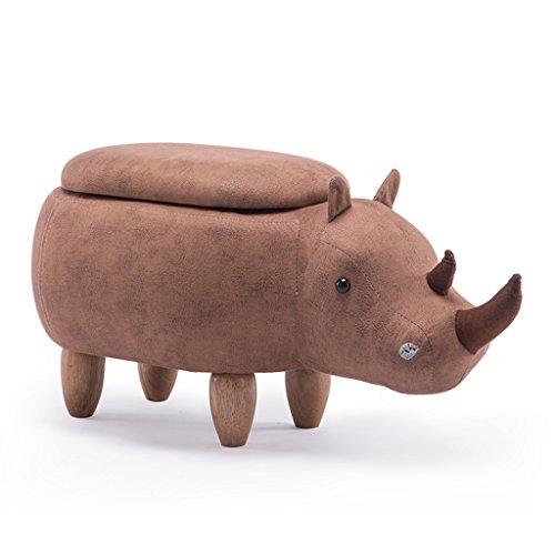 RENJUN Hocker Cartoon kreative Hippo Styling massivholz hocker ändern Schuhe hocker Sofa hocker Wohnzimmer Veranda hocker lagerung hocker 65x35x37cm Kleiner Hocker (Color : Khaki)