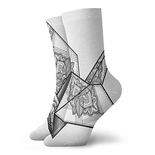 Calcetines suaves de longitud media de pantorrilla, estilo origami, diseño de grulla dibujado a mano, monocromático y folclore de Asia Lejano Oriente, calcetines para hombres y mujeres