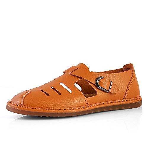 Xingyue Aile Zapatillas y sandalias Verano cómodo y transpirable al aire libre sandalias de moda para hombres, sandalias de microfibra de cuero antideslizante plana redonda cierre de la hebilla del de