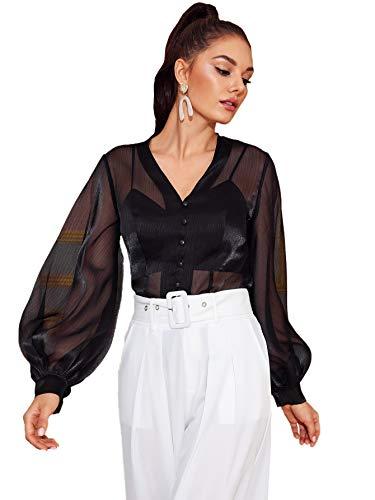 Verdusa Women's Button Front Lantern Sleeve Sheer Organza Blouse Shirt Black XS