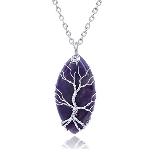 Thajaling Collar con colgante de cristal curativo de Reiki de Amatista Vintage con forma de árbol...