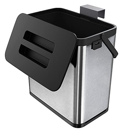 Orimade Hängender Küchenmülleimer für Wand & Schranktür - Küchen Tisch/Wand & Schrank Abfalleimer - Anti-Fingerprint Mülleimer - Premium Edelstahl Behälter - 3 Liter
